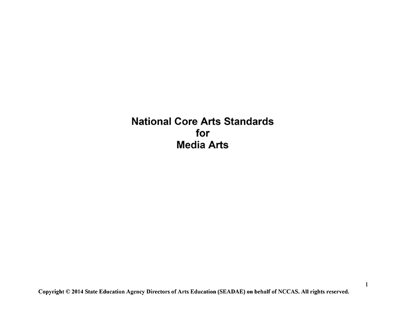 National Core Arts Standards for Media Arts