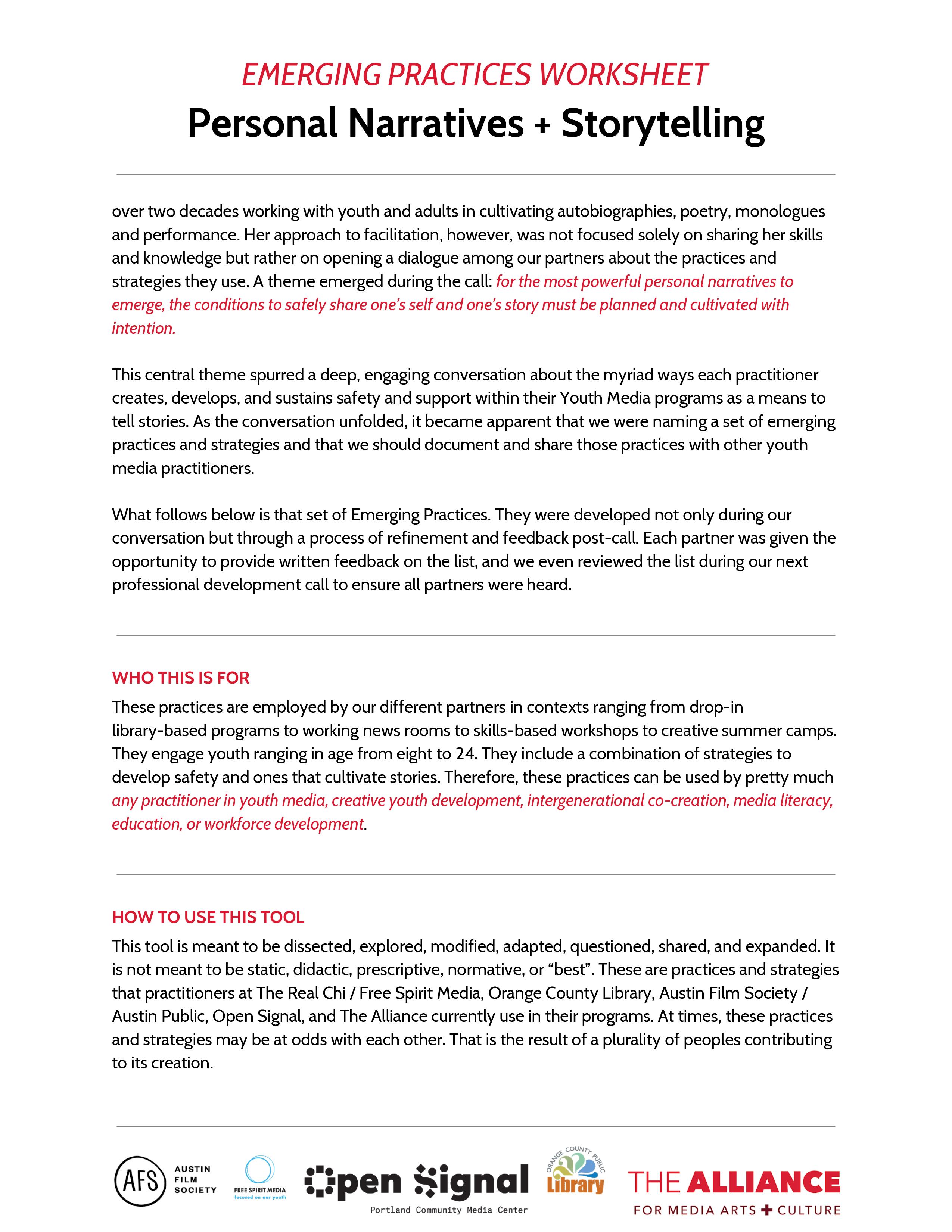 Worksheet Personal Narrative Storytelling The Alliance