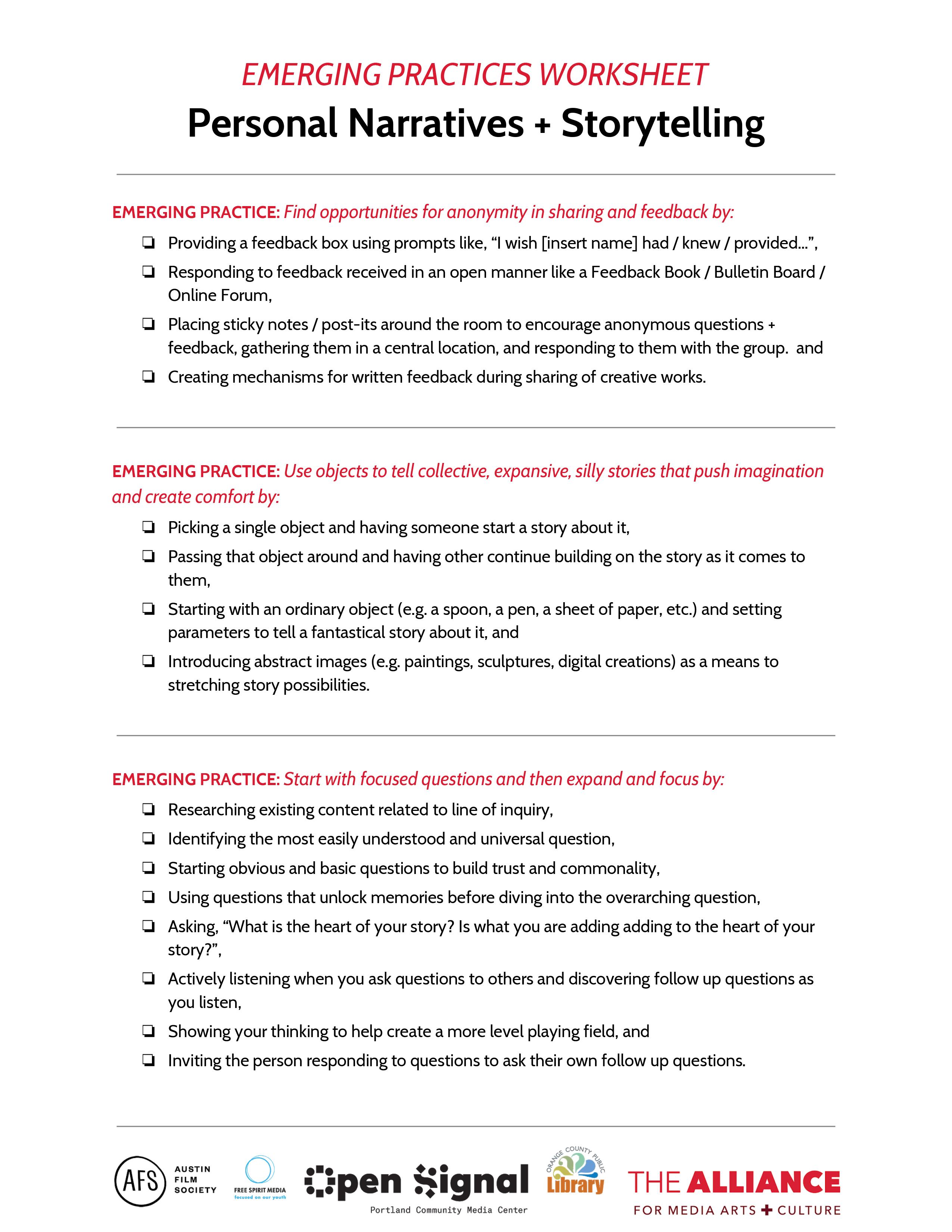 Worksheet Personal Narrative Storytelling 4 The Alliance
