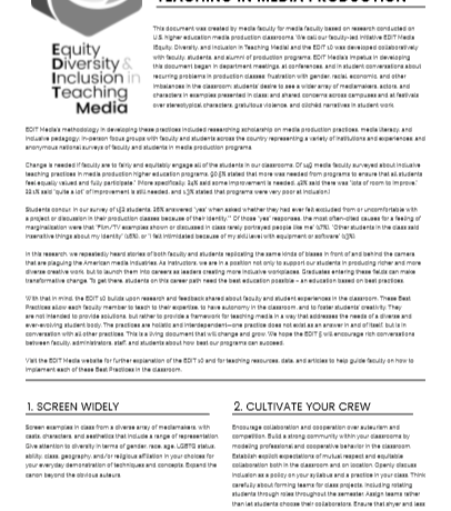 EDIT 10 BEST PRACTICES IN INCLUSIVE TEACHING IN MEDIA PRODUCTION