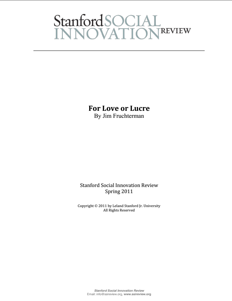 For Love or Lucre