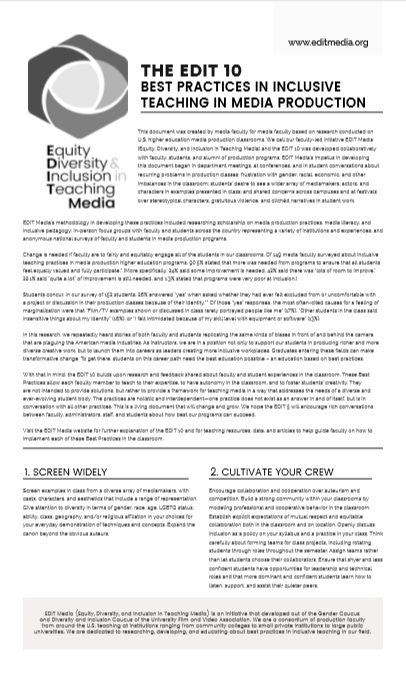 EDIT 10 BEST PRACTICES IN INCLUSIVE TEACHING IN MEDIA PRODUCTION d