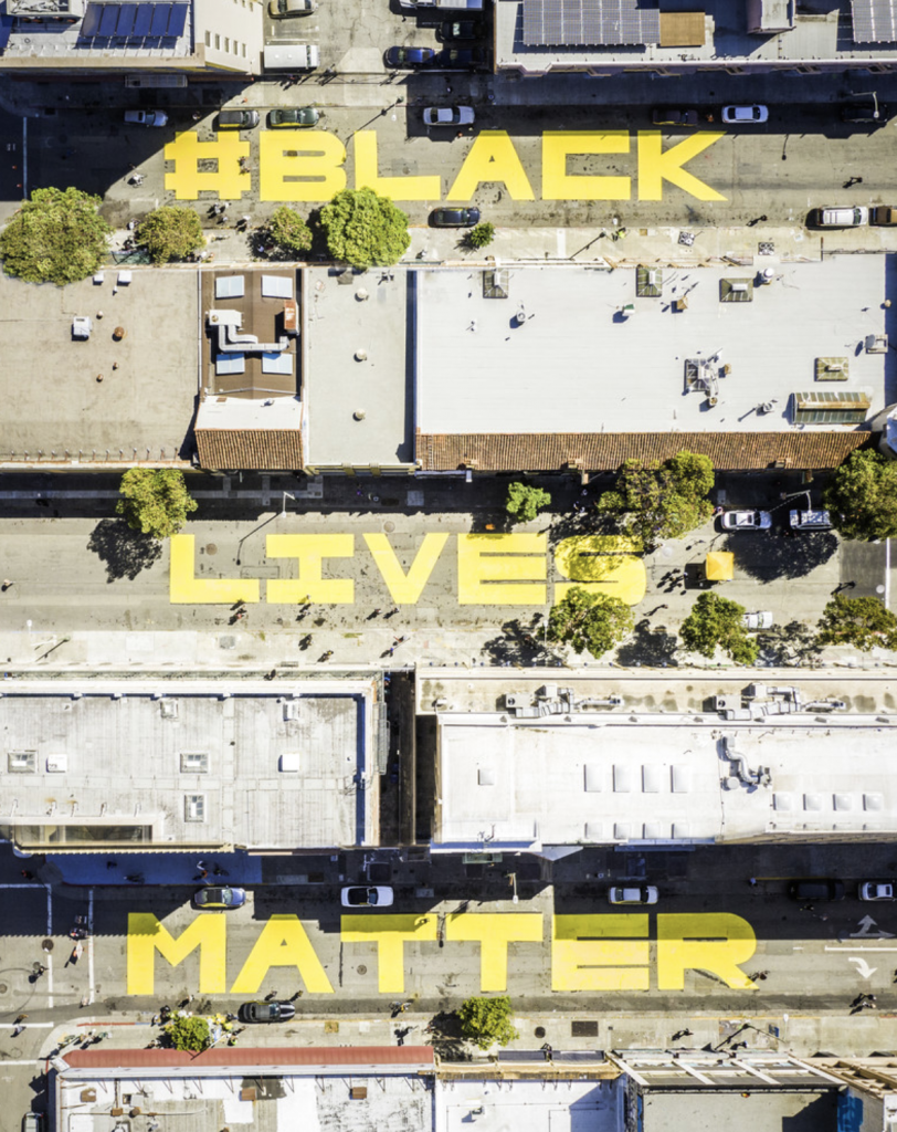 Oakland aerial view Black Lives Matter. Photo by JJ Harris.